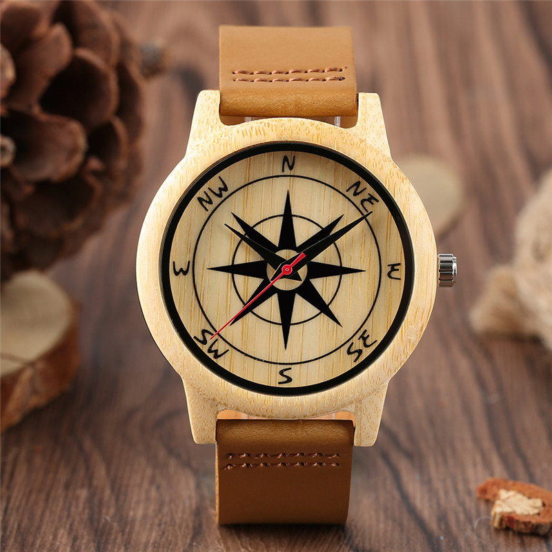 YISUYA Creative Compass Pattern Dial Bamboo Wooden Watch Genuine Leather Band Men Luxury Casual Quartz Analog Wood Wrist Watches
