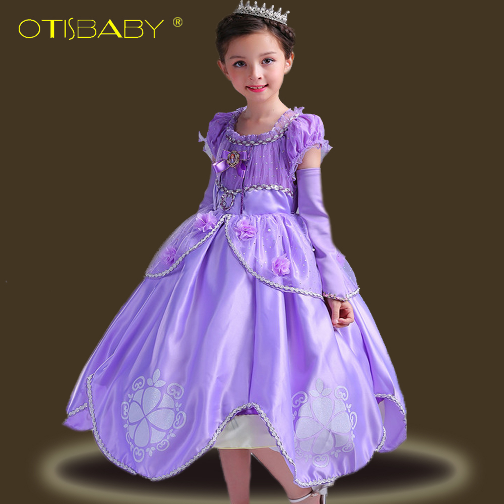 High Quality Summer Fancy Sofia Princess Dress for Girls Kids Cartoon Aurora Birtyday Party Dresses Children Cinderella Gown Hot sofia princess kids dress lovely purple