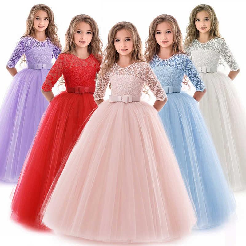 2020 Summer Long Sleeve Girl Party Dress Wedding Dress Kids