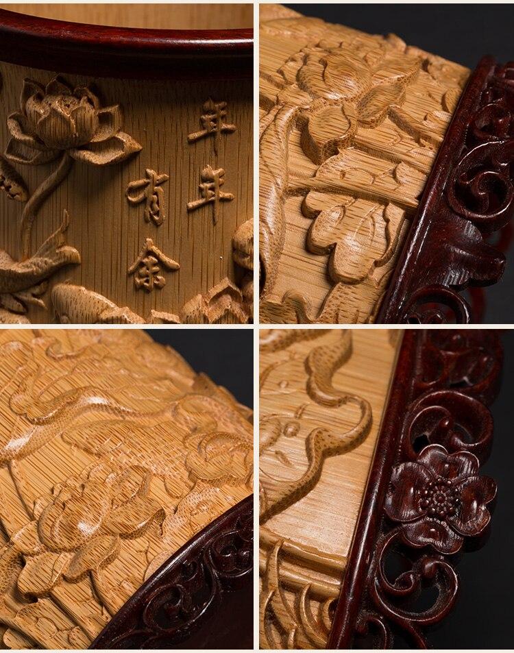 en retro mão-esculpida artesanato wenwan ornamentos de bambu natural caneta titular