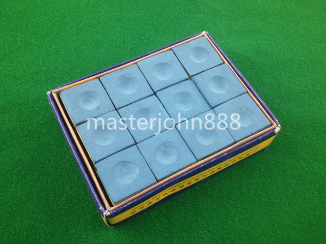 Pool Billiards Snooker Box Of 12pcs Cubes Chalk Bl...