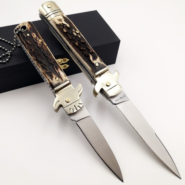 Italian Mafia Folding knife D2 Blade Natural Antler Handle Pocket Camping Knives Survival Hunting Tactical Quickly Open EDC Tool