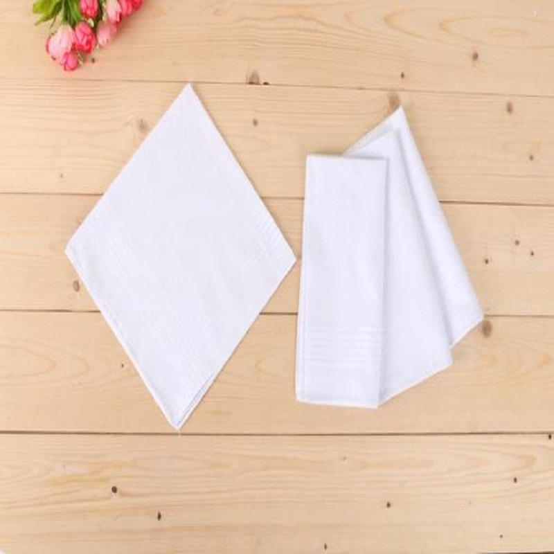 12 Pcs/lot 100% Cotton Solid White Men Handkerchief Export Item 40cm*40cm