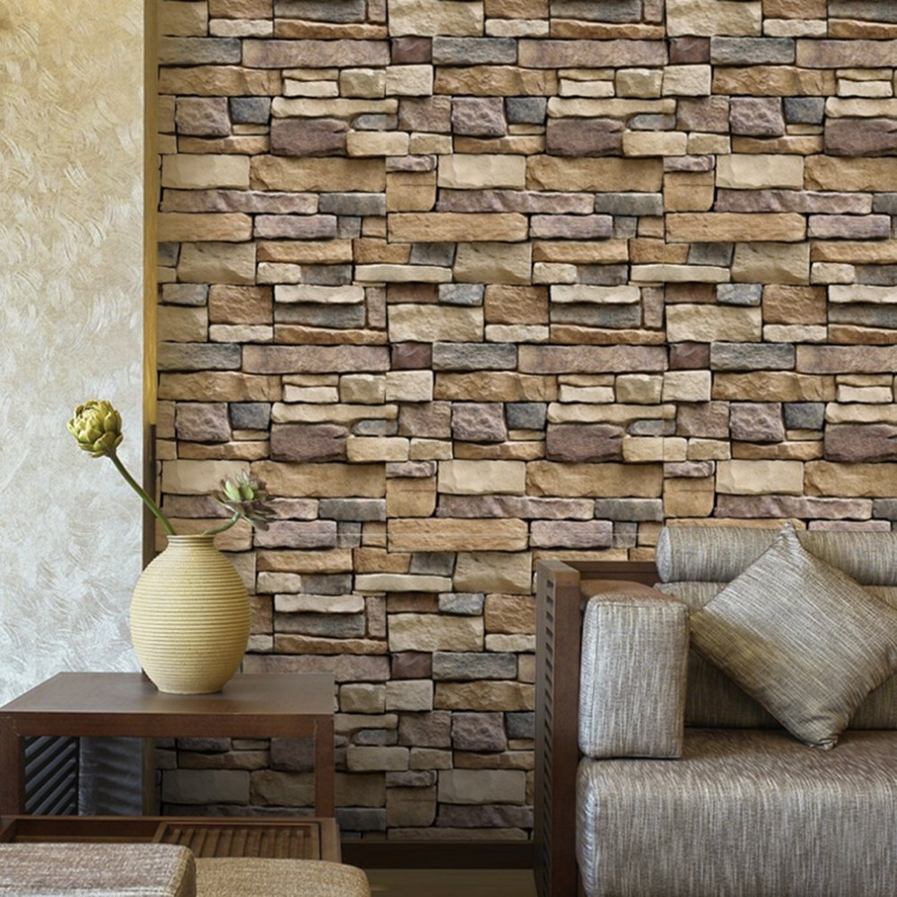1PC Vintage Stone Brick Wallpaper 3D Wall Sticker Rustic Effect Self-adhesive Home Decoration 45x100cm
