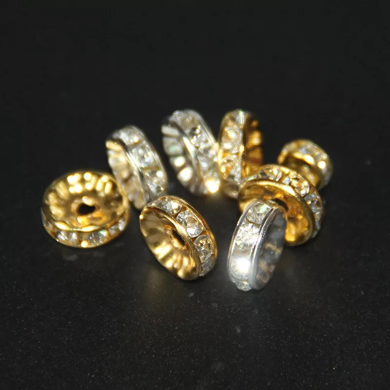 100 PCS Wholesale Top Quality Copper Rhinestone Beads For Jewelry Making Wheels Spacer bead DIY Bracelet
