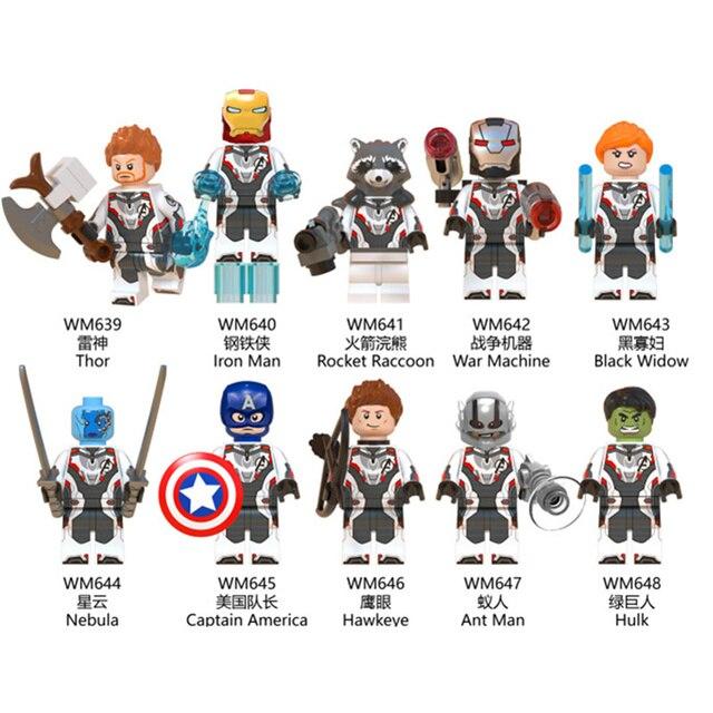 O Capitão Marvel Vingadores Thanos Endgame Legoing Antman Spiderman Thor Homem De Ferro Máquina de Guerra Blocos Tijolos Brinquedos Legoings