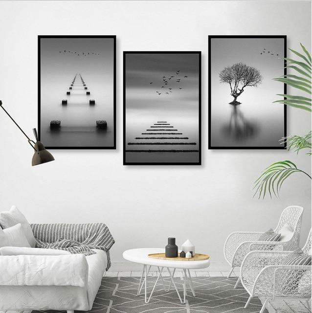Nordic moderno e minimalista astratto in bianco e nero paesaggio ...