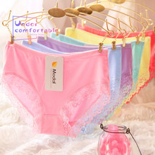 New large size Lace edge Lady Underwear Freshness Pure Bamboo Fiber Soft Panties Mid-Rise Girl Briefs women v lace mid waist bamboo fiber stretched soft comfy briefs panties
