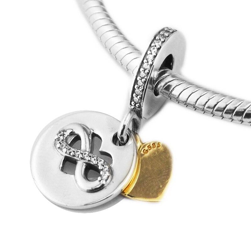 Convient pour Pandora Bracelets coeur d'infinité charmes avec 14 K or réel 100% 925 Sterling-argent-bijoux perles livraison gratuite