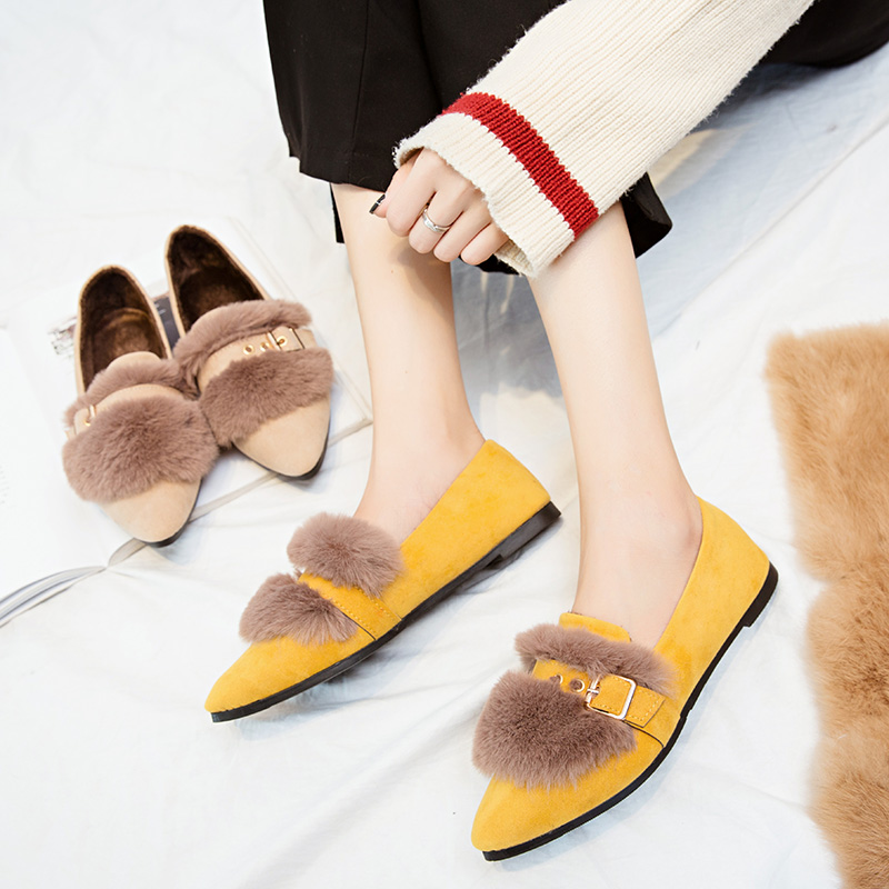 2018 Fashion Women Casual Flat Shoes Woman Fur Loafers Ladies Slip On Zapatos Mujer Winter Soft Warm Plush Flats Yellow Black flat shoes woman slip on loafers pointed toe breathable fur women shoes 2018 zapatos mujer casual ladies shoes sapato feminino