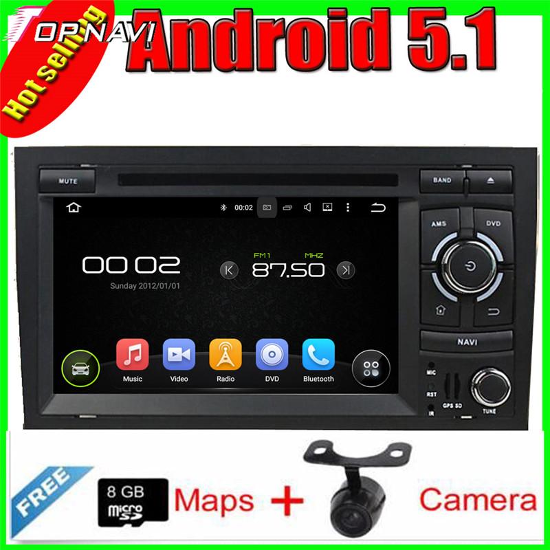 "7"" Free Shipping Quad Core Android 5.1 Car GPS For A4 (2002-2008) for Audi With Stereo Radio Mirror Link 16GB FLash"