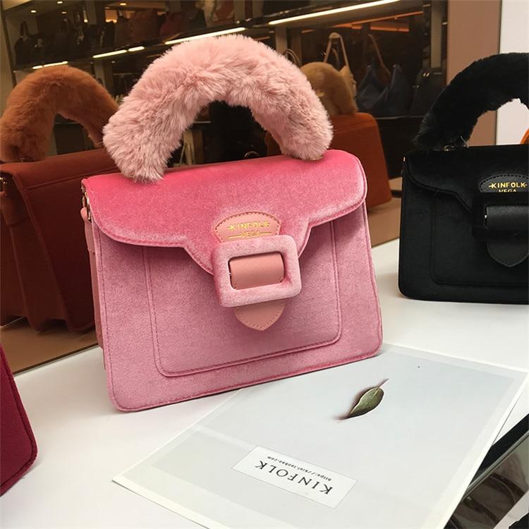 17 Christmas limited velvet suede handbag Samantha Vega plush handle organ shoulder bag Retro small flap square Messenger bag 20