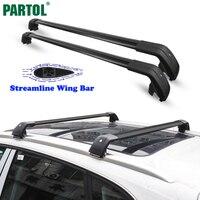 Partol Universal Car Roof Rack Chữ Thập Bars Crossbars 132LBS 60 KG Nhôm Máy Bay Cargo Luggage Snowboard Carrier phù hợp với 104-109 cm
