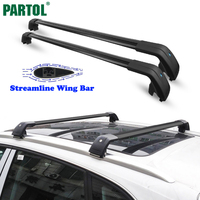 Partol Universal Car Roof Rack Cross Bars Crossbars 132LBS 60KG Aircraft Aluminum Cargo Luggage Snowboard Carrier