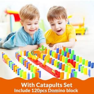 Image 5 - Automatyczne układanie Domino cegła lokomotywa zestaw dźwięk światło dzieci kolorowe plastikowe Domino bloki zabawki do gier prezent dla dziewczyny chłopców