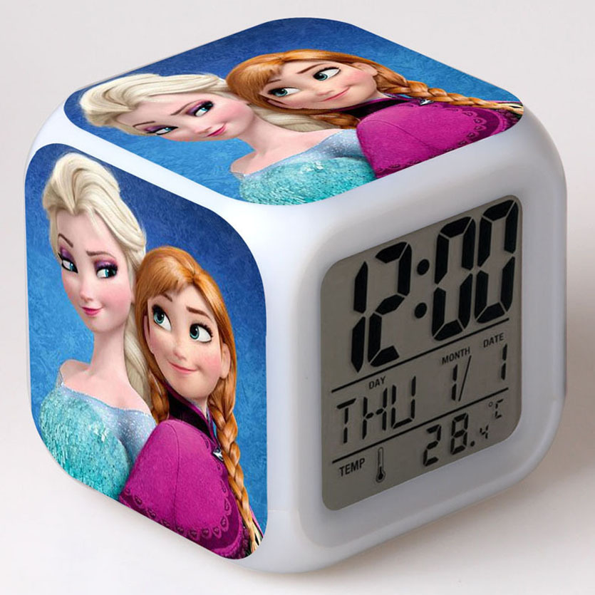 Disney FROZEN Elsa Ann Cartoon LED Touch <font><b>Alarm</b></font> <font><b>Clock</b></font> Student <font><b>Boy</b></font> Girl Adult Bedside <font><b>Alarm</b></font> <font><b>Clock</b></font> image