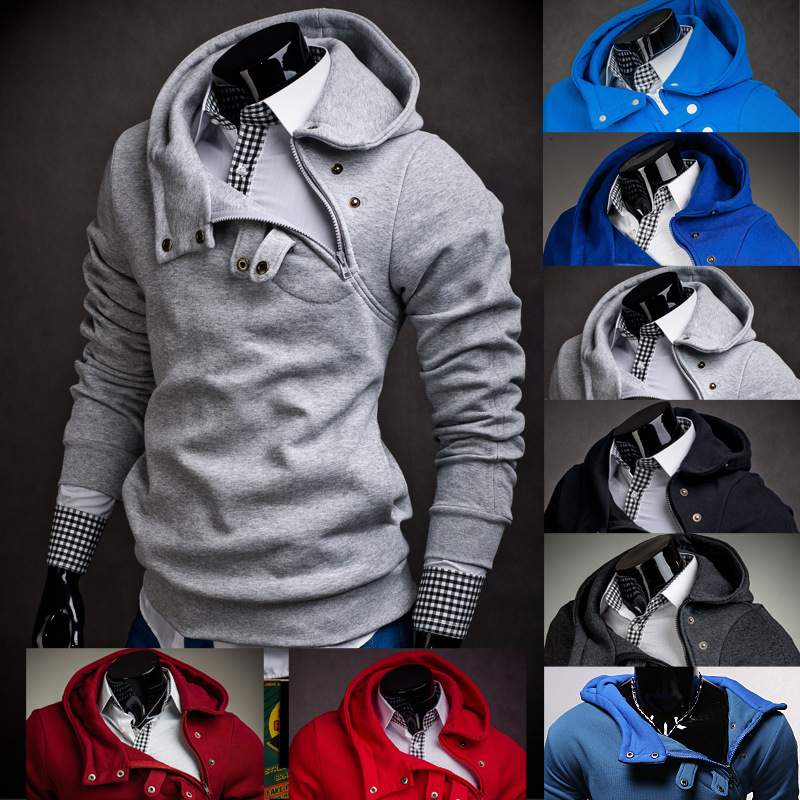 Men S Casual Side Zip Hoody Button Up Hoodies Men Fleece