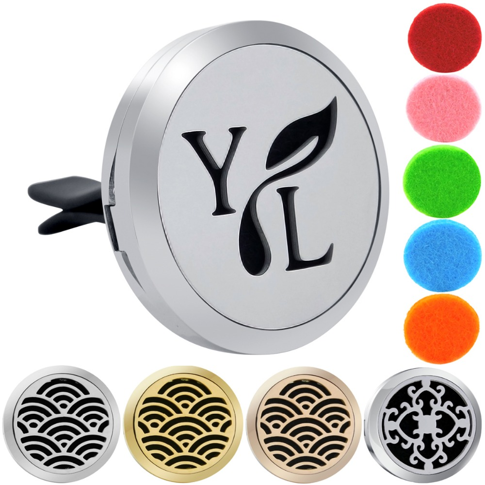 30mm YL Logo Magnet 316 Stainless Steel Car Aromatherapy Locket Free Pads Essential Oil Car Perfume Lockets Drop Shipping 30mm yl logo magnet 316 stainless steel car aromatherapy locket free pads essential oil car perfume lockets drop shipping