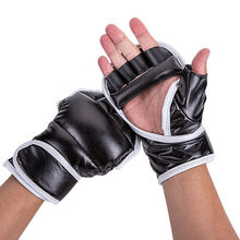 Black and White Half Finger Boxing Gloves