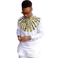 African clothing men's shirt O neck Ankara white with print tops patchwork customized wear male dashiki shirt for wedding