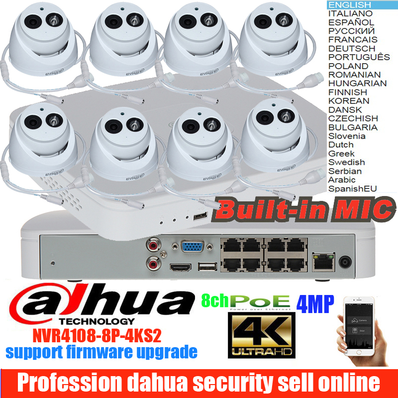 Оригинал dahua mutil язык H.265 4MP POE IP Камера DH IPC HDW4433C A Системы безопасности Камера открытый 8CH NVR4108 8P 4KS2 комплект