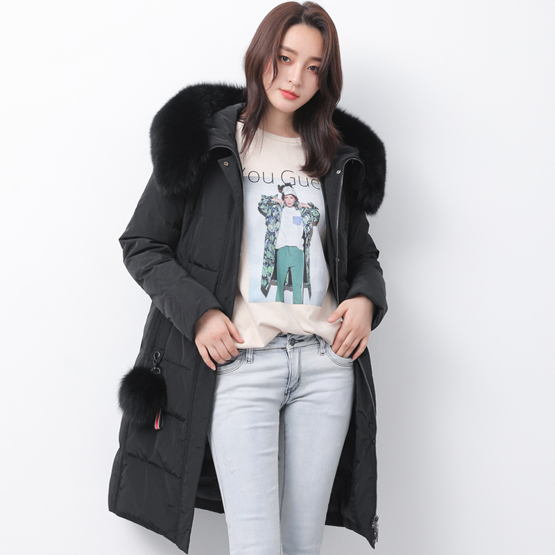Winter White Duck   Down   Jacket Women Real Raccoon Large Fur Collar Hooded   Down     Coat   Female Parkas 2019 New Arrival   Down   Jacket