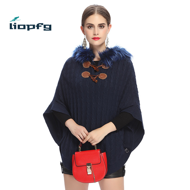 New2017 autumn and winter sweater imitation raccoon fur collar edge hooded twist bat sleeves Black Blue sweaterWM153