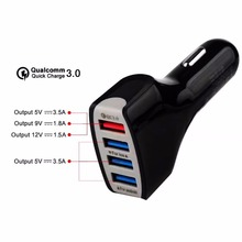 SOONHUA QC3.0 Quick Phone Charge Adapter 4 Port USB Car Charger Fast Smart Charging for Samsung Galaxy S7 Edge iPhone Xiaomi