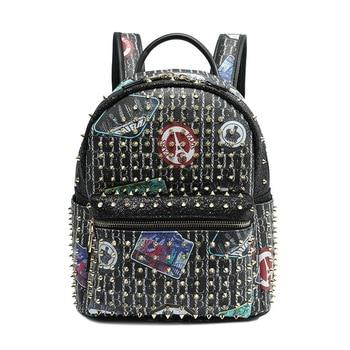 New Fashion Ladies Genuine Leather Shoulder Bag Cartoon Graffiti Rivet Diamonds Women Backpack