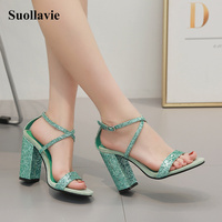 Fashion women sandals gladiator sandals square heel buckle strap hollow open toe green sandals party shoes size 4 9