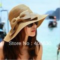 summer women flodable straw beach hat with bow, fashion wide brim floppy sunbonnet hat, free Shipping