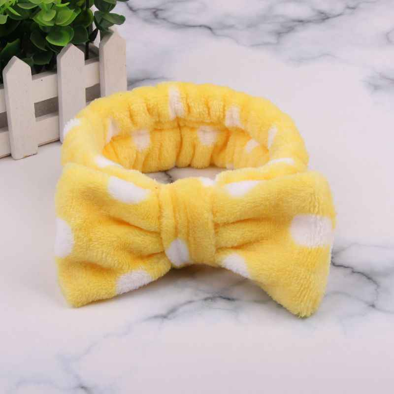 Мягкая эластичная лента из кораллового флиса в горошек с большими кроличьими ушками для спа-ванны, душа, макияжа, мытья лица, косметическая повязка на голову, повязка на голову