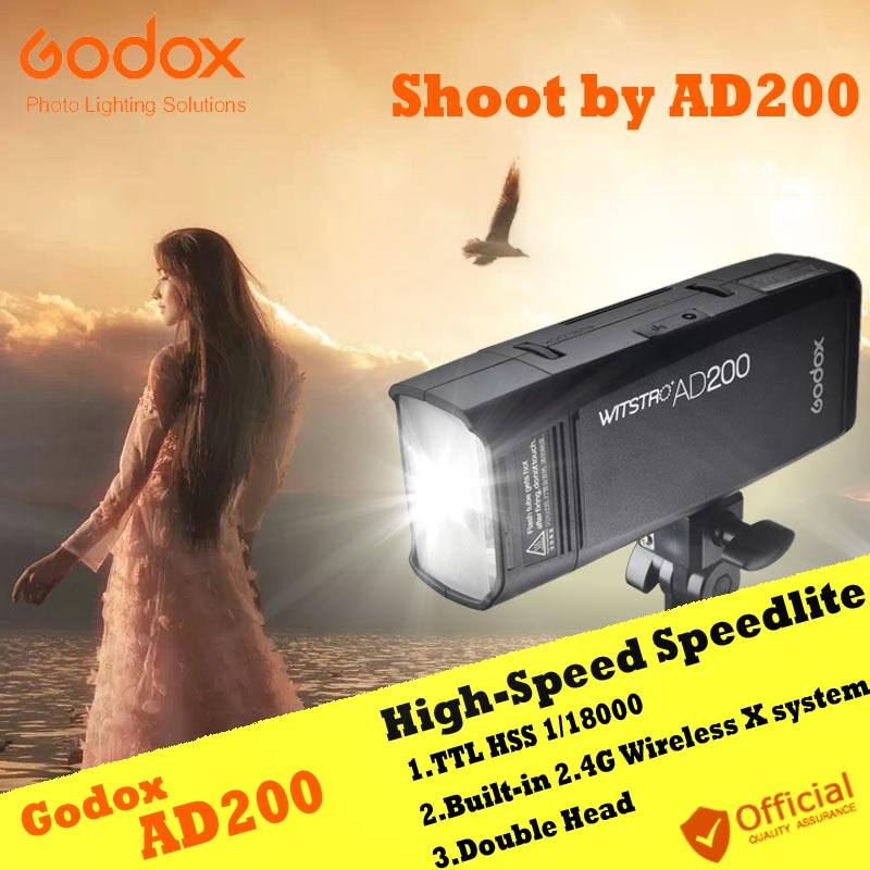 GODOX AD200 TTL 2.4G HSS 1/8000s Flush Strobe Flash light for Canon 6d 60d Nikon Sony Fuji Olympus Panasonic Camera Speedlite