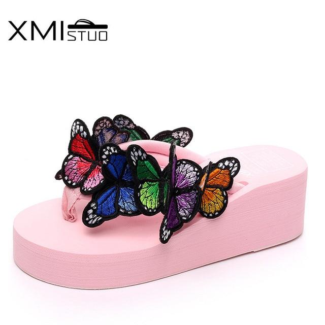 XMISTUOCool belle 3D papillon-noeud pantoufles déesse augmentation 5.5 cm pente avec antidérapant décontracté plage chaussures mot pantoufles