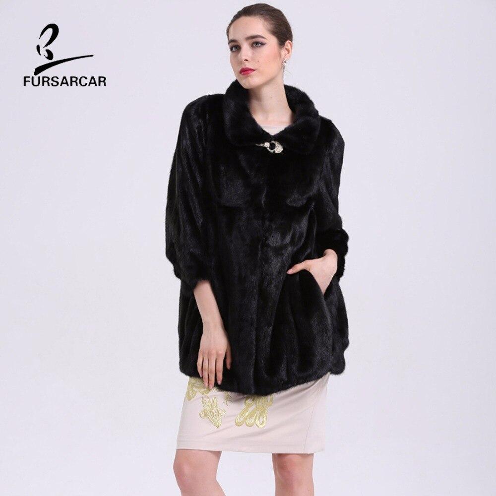 FURSARCAR Mewah Nyata Mink Fur Coats Berdiri Collar Hitam Natural Fur - Pakaian Wanita - Foto 5
