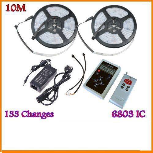 3 ensembles/lot 10 M 5050 RGB rêve couleur magique 6803 IC LED bande lumière 133 changement RF à distance et 12V6A 72 W puissance US/EU/UK/AU
