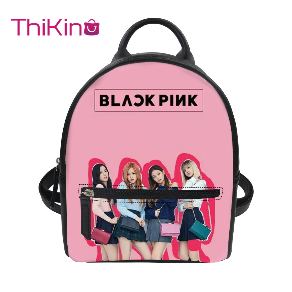 Thikin Blackpink Girls Group KPop Backpack for Ladies Satchel Travel Mochila PU Mini Zipper Schoolbag Student Preppy Style Bag in Backpacks from Luggage Bags