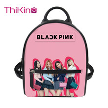 Thikin Blackpink Girls Group KPop Backpack for Ladies Satchel Travel Mochila PU Mini Zipper Schoolbag Student Preppy Style Bag