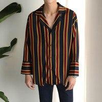 VERSMA 2017 Korean Harajuku GD Chiffon Pajamas Striped Shirts Men Women Autumn Hip Hop Streetwear Casual Loose Couple Shirt Male