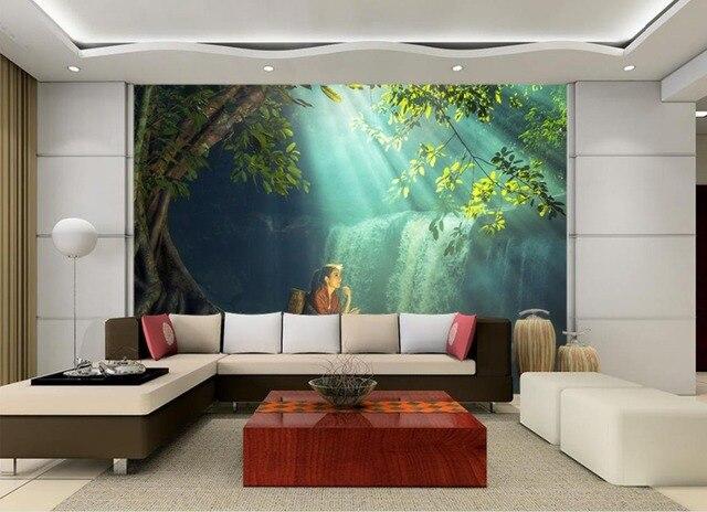 3d Tapeten Natur Wasserfall Landschaft 3D Wald Wallpaper Wände ...