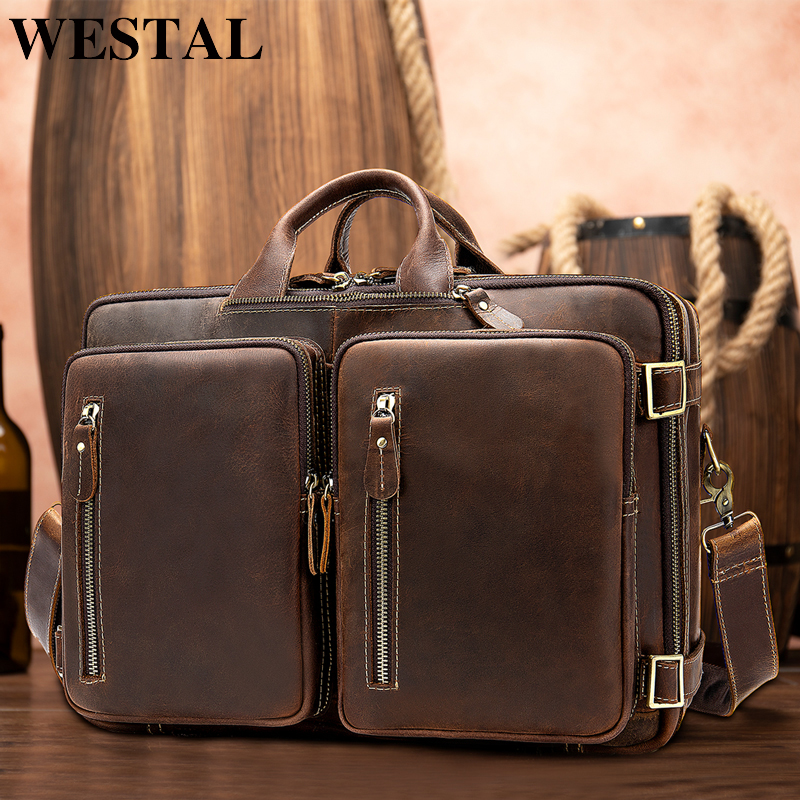 WESTAL men's briefcases handbag leather laptop bag men men's genuine leather office bag for men business 14inch document bag 432|Briefcases| |  - title=