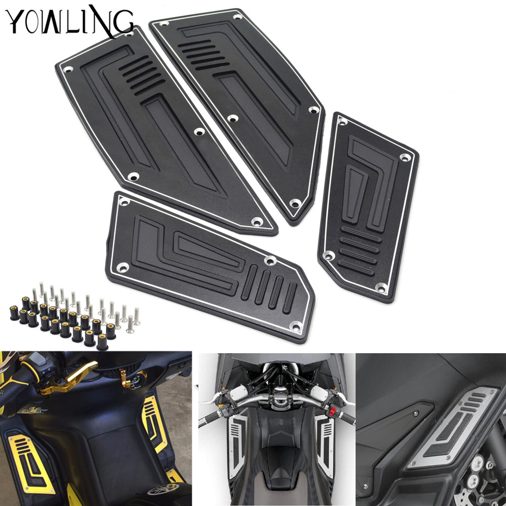 Footrest Pedal Motorcycle Front & Rear Motorbike Footboard Steps Foot Plate for Yamaha TMax530 T Max TMax 530 2012 2013 14 15 16 cnc motorbike kickstand foot side stand extension pad support plate for yamaha t max tmax 530 2012 2013 2014 2015