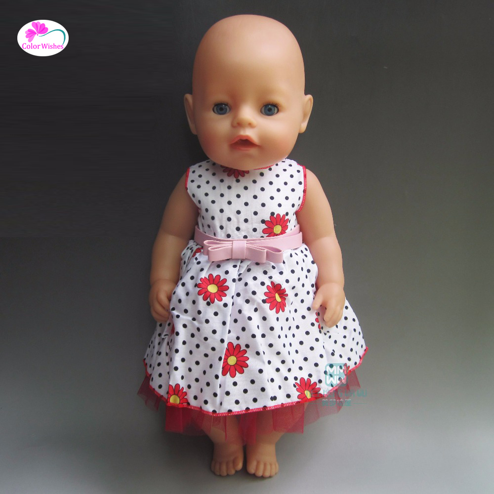 fits 43 cm Baby Born zapf doll White print dress Clothes for dolls  Children's Christmas gift rose christmas gift 18 inch american girl doll swim clothes dress also fit for 43cm baby born zapf dolls