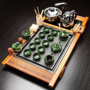 Wujin Stone Tea Tray Solid Wood Tea Table Kung Fu tea set Teapot Teacups Four in one induction cooker one complete set 1