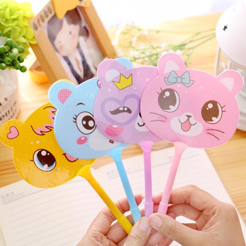 Creative Cute Kawaii Fan Plastic Ballpoint Pen Cartoon Animal Ball Pens For Kids Gift School Supplies Student 1950