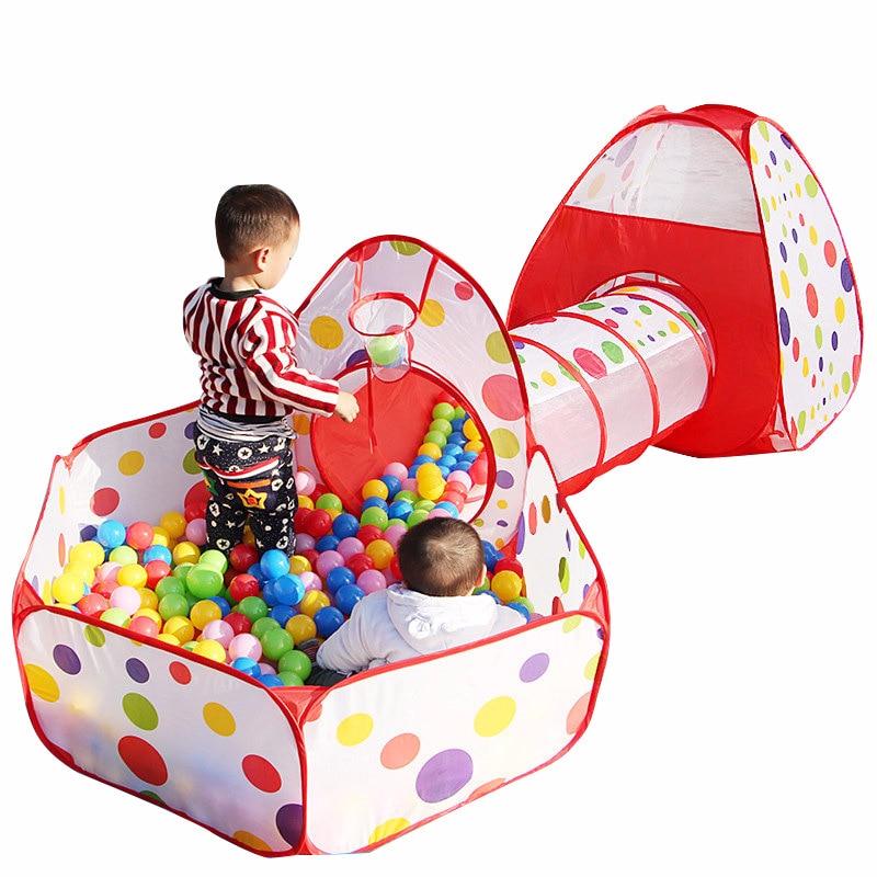 0-6 ans bébé jouets enfants tente Tunnel trois pièces Marine balle jeu Pool House pliable mode sécurité jouet tente