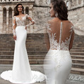 Robe de mariage New Arrival Mermaid Wedding Dresses 2017 Illusion Neck Long Sleeves Court Train Button Back Bride Dresses