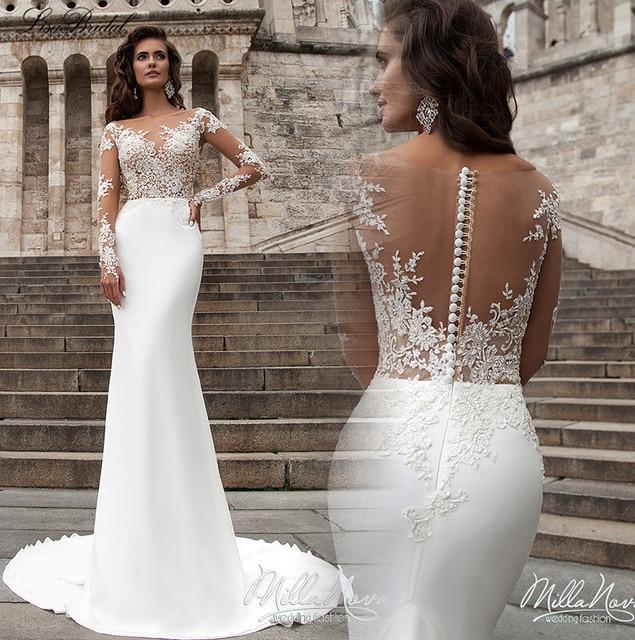 2015 New Elegant Full Long Sleeves Mermaid Wedding Dresses: Aliexpress.com : Buy Robe De Mariage New Arrival Mermaid