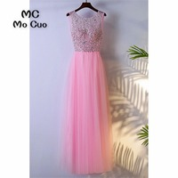 2018 Hot Pink Prom Dresses Long with Crystals Beaded Floor Length Illusion Backless Formal Evening Party Dress for Women