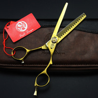 6 inch golden hair scissors high grade barber scissors flat cut bangs cut teeth